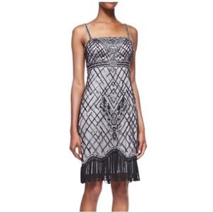 SUE WONG Black Beaded Fringe Cocktail Dress