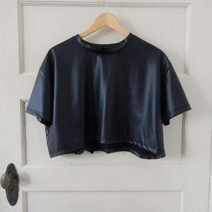 Black Faux leather short sleeve crop top