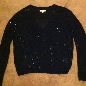 Urban Outfitters Black Sequined Vneck Sweater