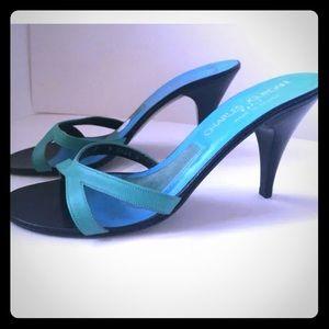 Charles Jourdan Shoes - Charles Jourdan Green Blue Leather Sz 9 slides