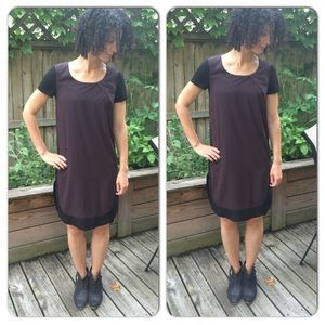 All Saints Lacyn Dress Black/Deep Plum US 4