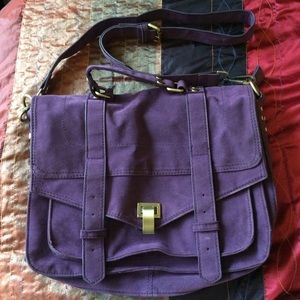 Handbags - Faux Suede Messenger Bag in Dark Purple