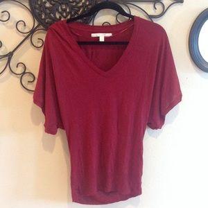 💞 Dark red slouchy V neck sweater
