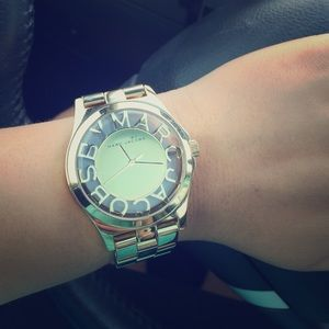 Marc Jacobs gold skeletal watch