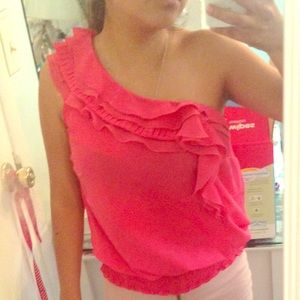 Charlotte Russe One Shoulder Ruffle Top