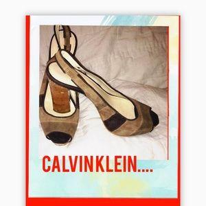 Calvin Klein suede platforms