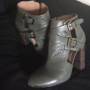 Atwell ark green leather booties