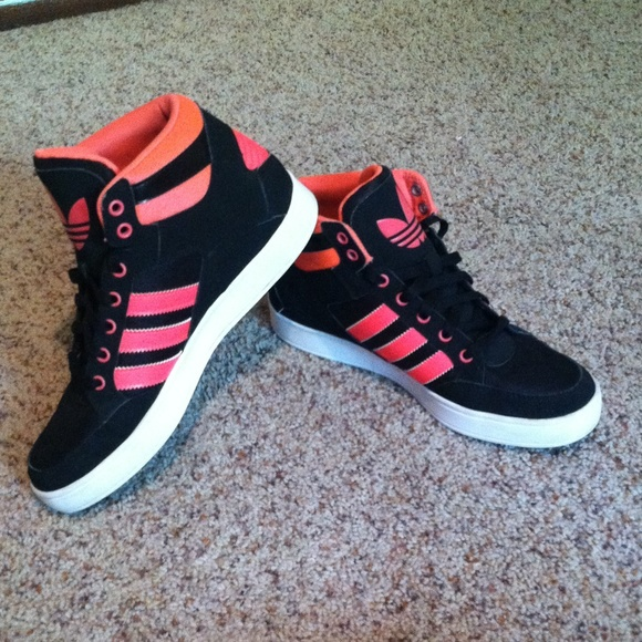 Hot Pink and Black Hard Court High Top Adidas