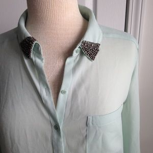 TROUVE EMBELLISHED BUTTON DOWN