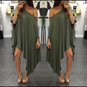 "Olive Green ""Lynette"" Poncho Dress"