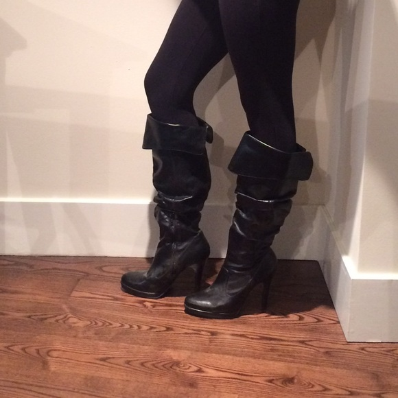 83 shoes black leather slouchy boots from