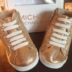 Infant Size 2 gold glitter Michael Kors Sneakers