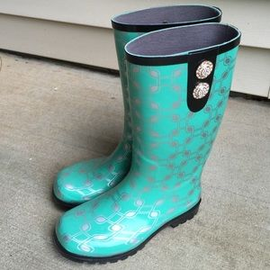 Nomad Boots - Teal Chain Link Rainboots! *Fits up to sz 9!