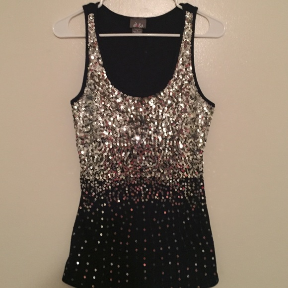 50% off Dots Tops - Silver Sequin Navy Blue Ribbed Tank ...