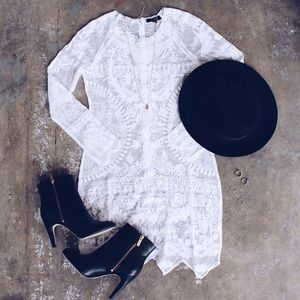 Call Out Lace Asymmetrical Long Sleeve Dress-White