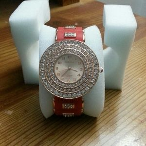 Austrian crystals in goldtone watch