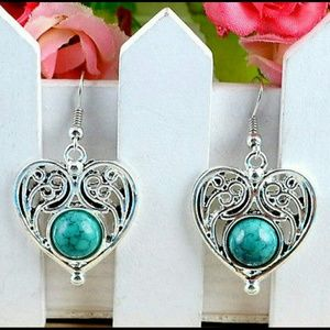 Jewelry - Silver and Turquoise Dangle Earrings NWOT