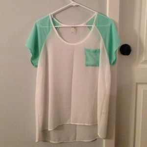 Turquoise and white sheer shirt!