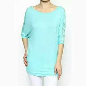a3aad9b6d07 PLUS SIZES!! Lace Detail Piko Top Tunic in Mint