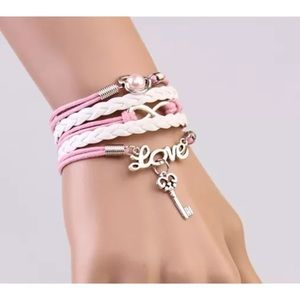 Jewelry - Infinity bracelet love key  heart