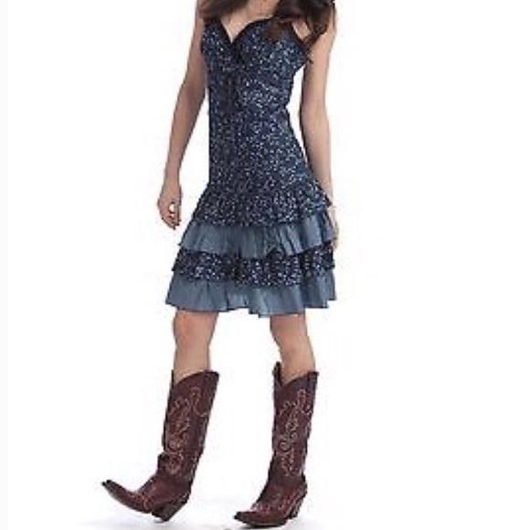 Ru Cowgirl Dresses Cute Denim Ruffle Halter Dress Poshmark