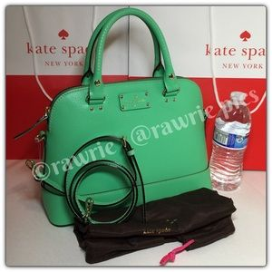 New Kate Spade green leather Crossbody Satchel
