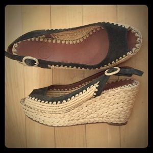Tory Burch / Wedge Espadrilles / Green Suede 6.5