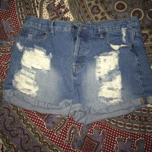 distressed high wasted shorts