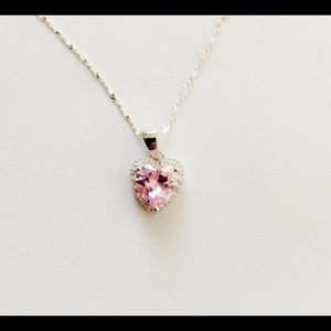 Jewelry - Sterling Silver Pink CZ Heart Anklet NWOT