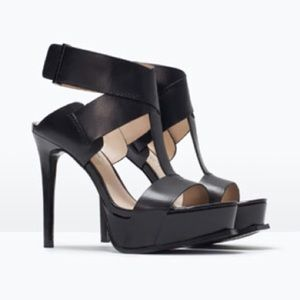 ZARA Platform Sandals with Ankle Strap