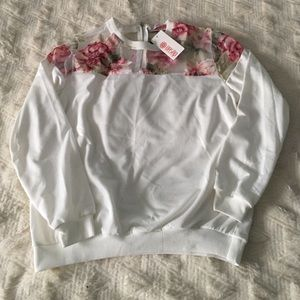 Sweaters - Floral Mesh Upper Sweater
