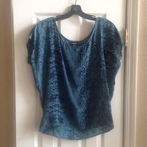 Tolani Tops - Blue Snakeskin Blouse