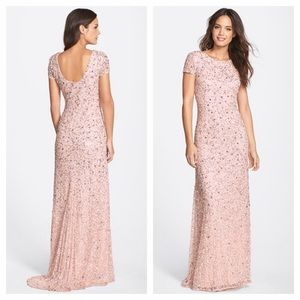 Adrianna Papell Dresses & Skirts - Adrianna Papell Sequin Blush Gown Dress