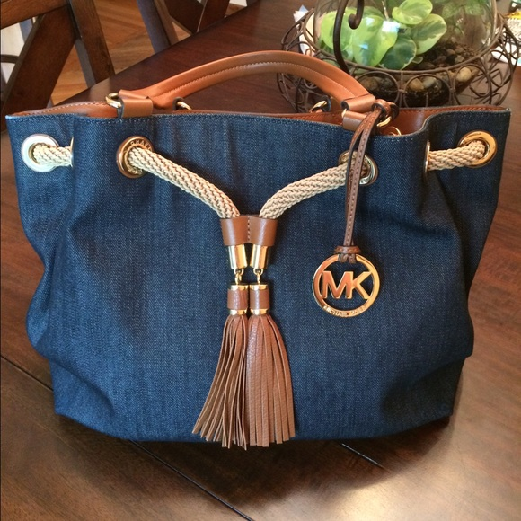 c5bc56e4b818 MICHAEL Michael Kors Bags | Michael Kors Denim Leather Bag Used Once ...