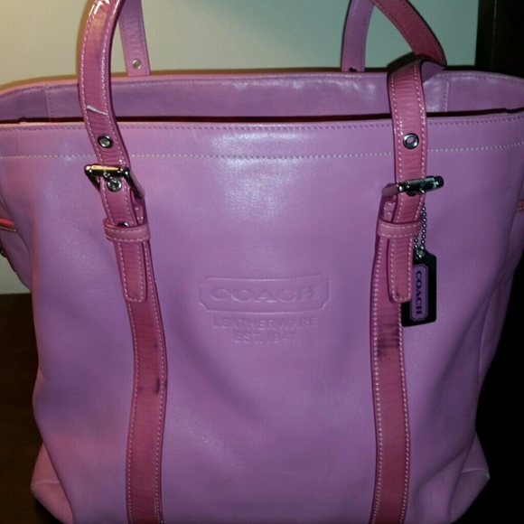 64 Off Coach Handbags Large Pink Leather Coach Tote Bag