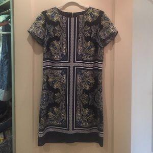Baroque style black short sleeve mini dress