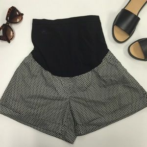 Motherhood Maternity Pants - Black & White Geometric Printed Maternity Shorts