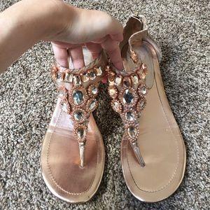 Rose gold sandals with rhinestones