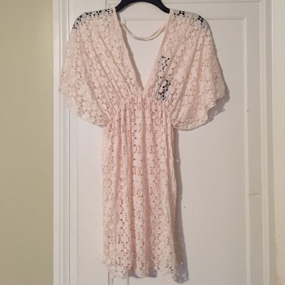 Elif Other - Boho Cut Out Cover Up in Cream Size Small