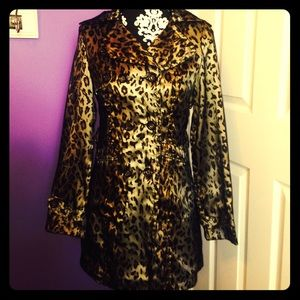 Leopard Print Trench Coat