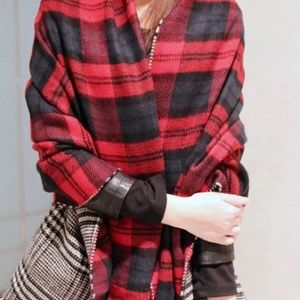 Accessories - NWT Oversized Red/Black Blanket Scarf