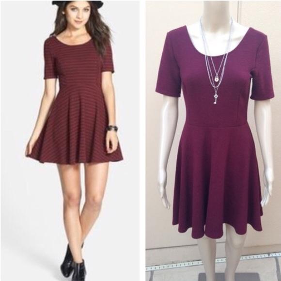 139edfb89d17 Lush Dresses & Skirts - 💋 Lush for Nordstrom maroon textured skater dress