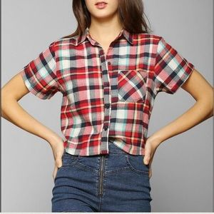 Urban Outfitters Tops - LAST CHANCE. Short Sleeve Flannel Crop Top