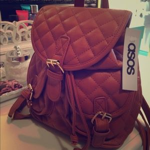 New! ASOS Tan Quilted Leather Stylish Bag