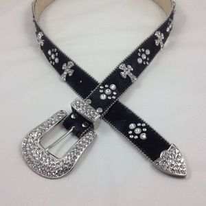 Black leather and rhinestone belt