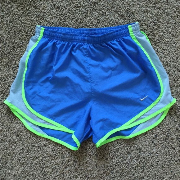 14% off Nike Pants - Neon blue and green Nike running shorts from ...