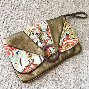 Bronze and pattern fabric boho clutch