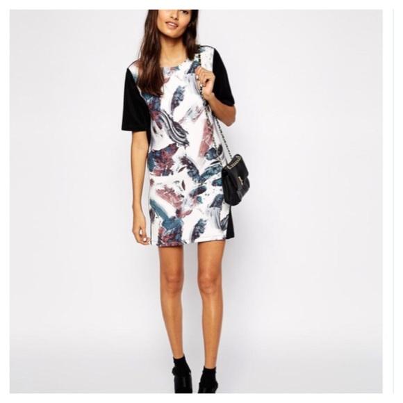 f2ed9b4799d68 ASOS Dresses   Skirts - T-Shirt Shift Dress in Bonded Brush Stroke Print