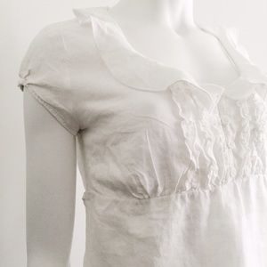 Tops - Linen White Top with Peter Pan Collar and Ruffles