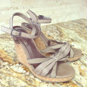Aldo Taupe Leather Espradille Sandal Wedges Size 9